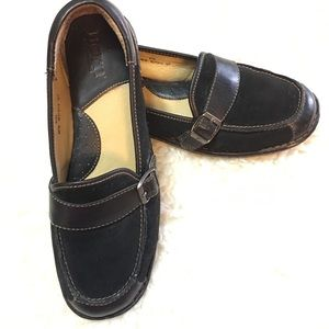 Born Leather & Suede Buckle Loafers Black sz 8